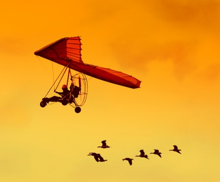 Red glider flying through sky with geese following